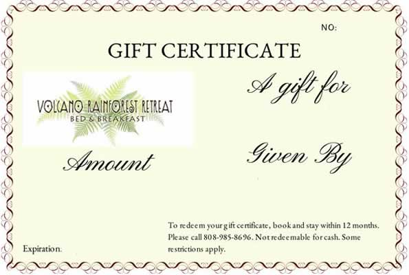 Volcano Rainforest Retreat Gift Certificates