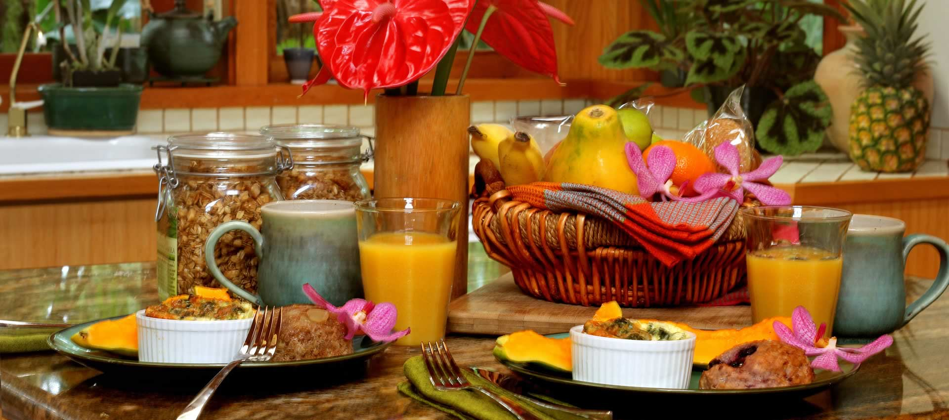 Volcano Retreat Breakfast spread with fresh fruit and juice