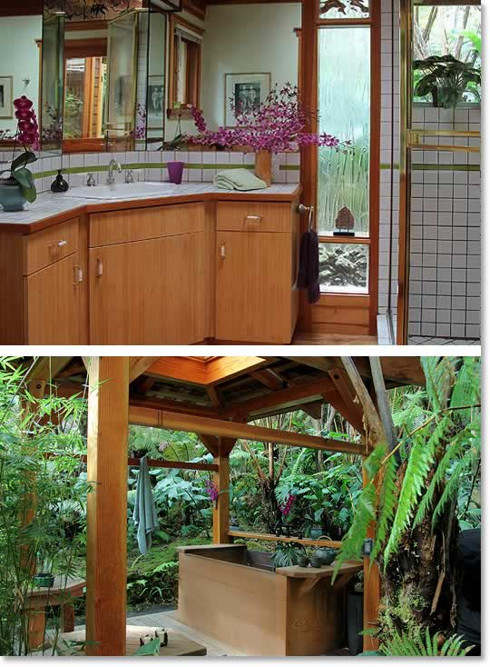Bamboo Guest House Bath and outdoor Japanese soaking tub