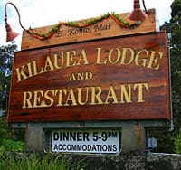 Sign for the Kilauea Lodge and Restaurant