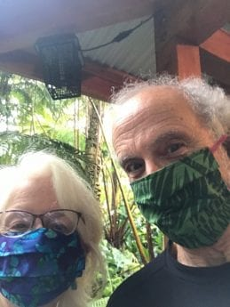 Kathleen and Peter wearing COVID masks