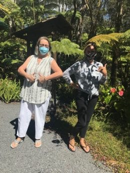 Two women from Kona side visiting the bed & breakfast