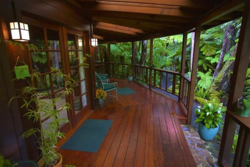 Skylight House secluded forested area with a small deck and garden