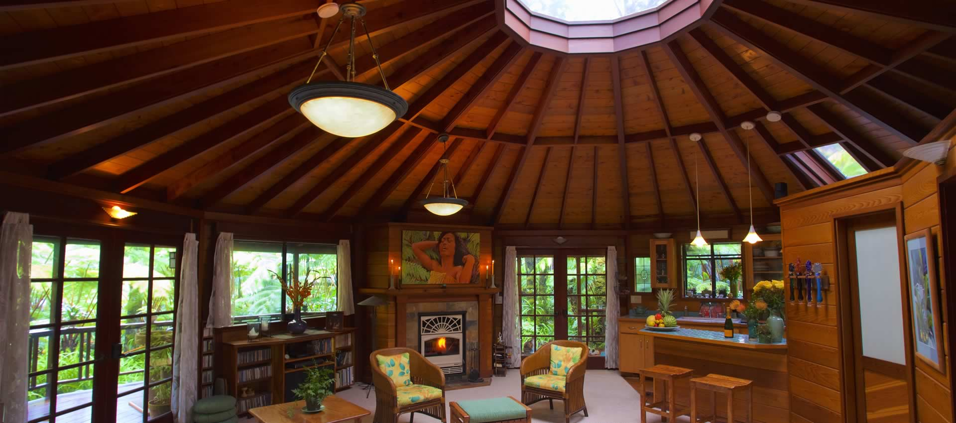 Skylight House Living Room with rain forest views